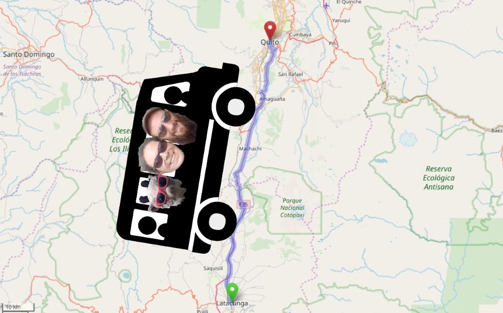 Carte avec un bus sur l'itinéraire de Latacunga à Quito