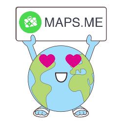 Petite planète en claquettes tenant un panneau avec le logo de l'application Maps.me