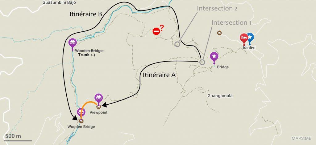 Plan de deux itinéraires alternatifs entre Isinlivi et Chugchilan
