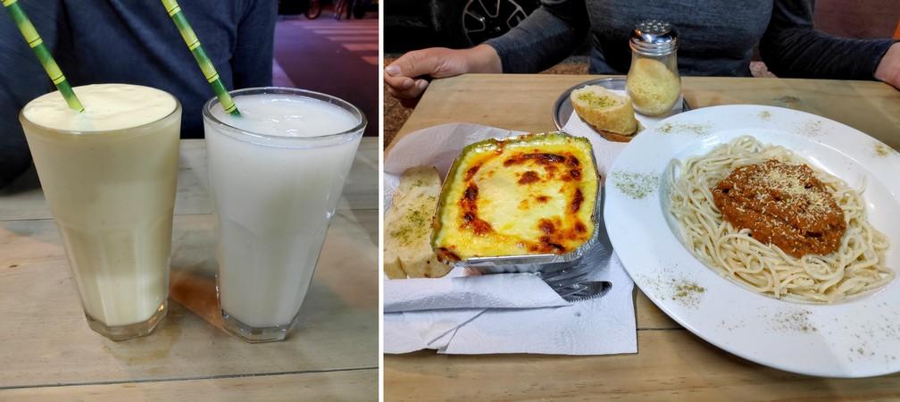 plats de pâtes bolognaises, lasagnes et jus à Medellin