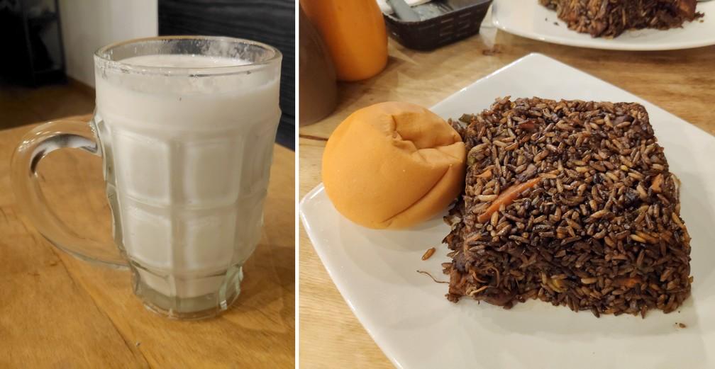 Assiette de riz sauté avec une boule de pain et verre de jus de fruit