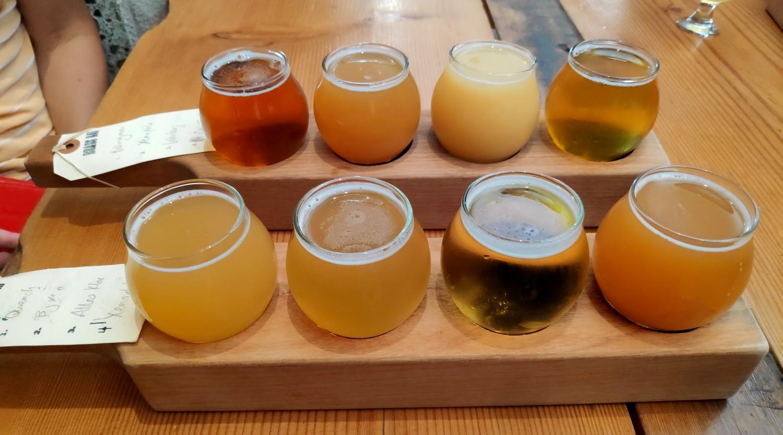 Echantillons de bière à Brassneck Brewery à Vancouver