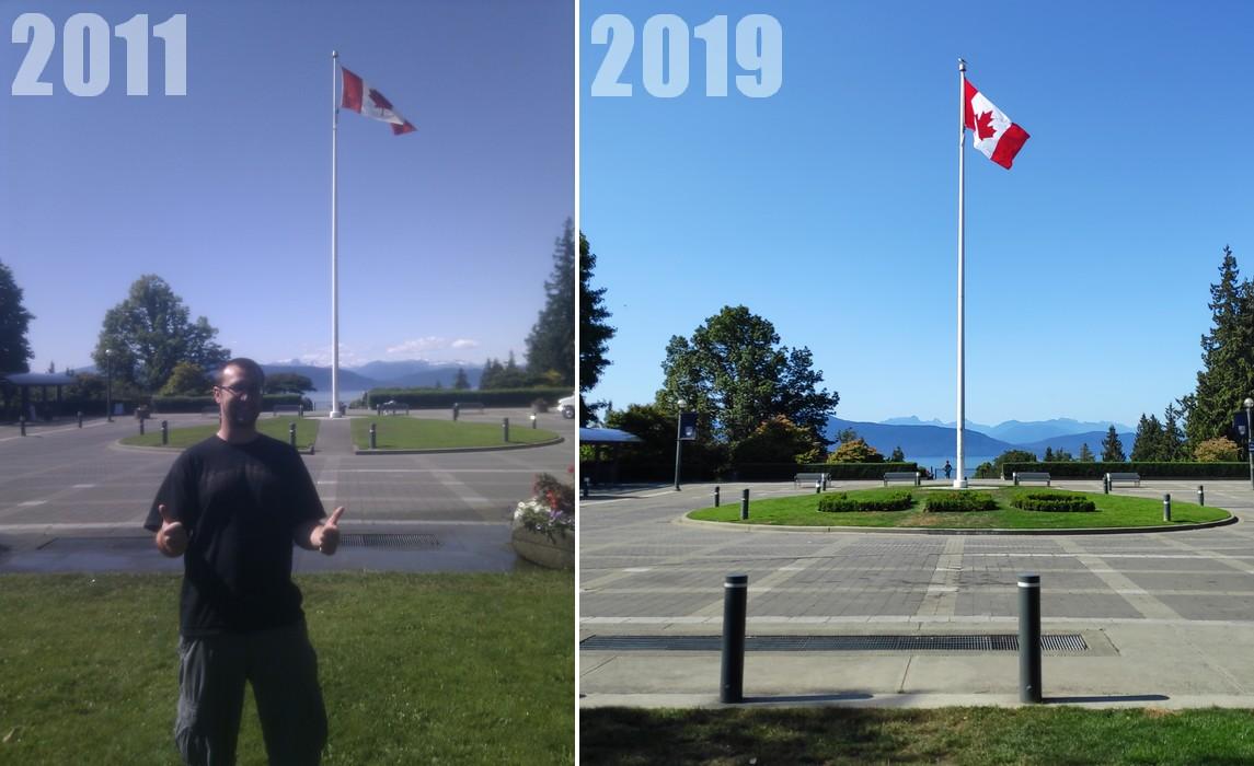 Comparaison entre deux photos du drapeau sur le campus de UBC en 2011 et 2019