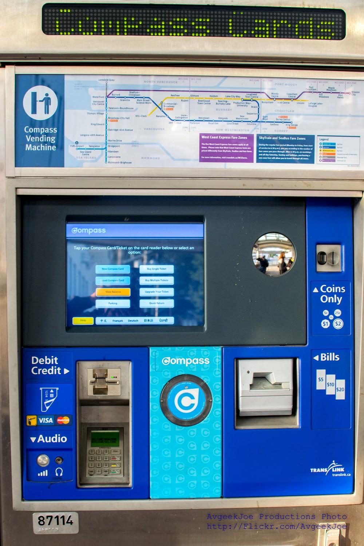 Guichet automatique Compass Card à Vancouver