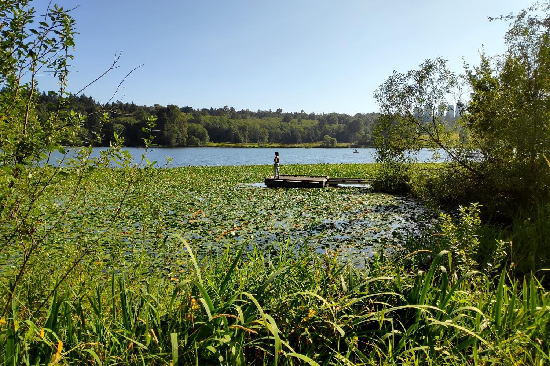Salomé sur un ponton de Deer Lake à Burnaby