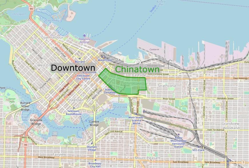 Carte de l'emplacement de Chinatown à Vancouver