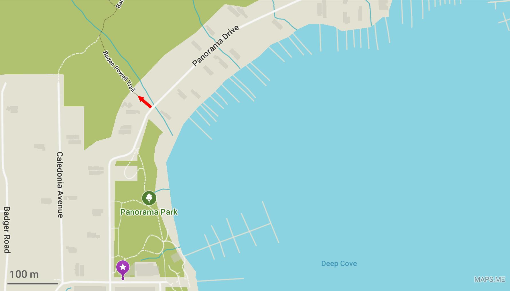 Carte montrant le départ du chemin Baden Powell
