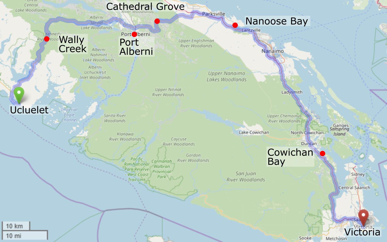 Carte montrant l'itinéraire de Ucluelet à Victoria
