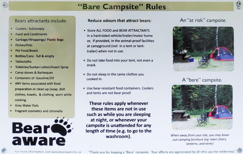 Instructions du camping pour les ours