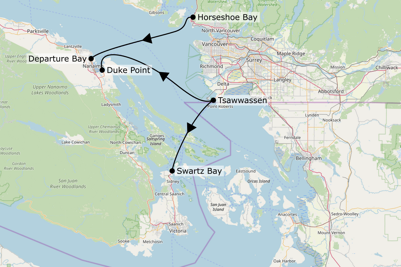 Carte des trajets en ferry pour aller de Vancouver à Vancouver Island