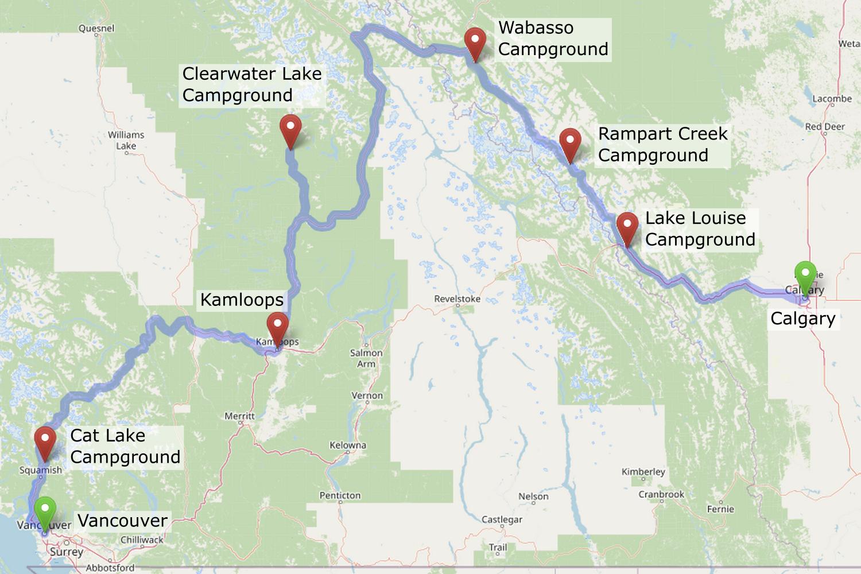 Carte de l'itinéraire dans les Rocheuses