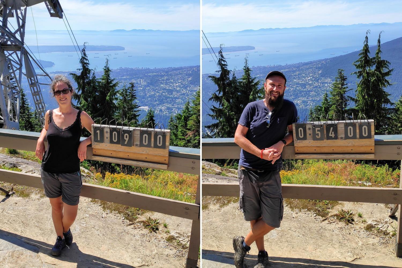 Salomé et Sylvain posent devant leurs temps du Grouse Grind Trail