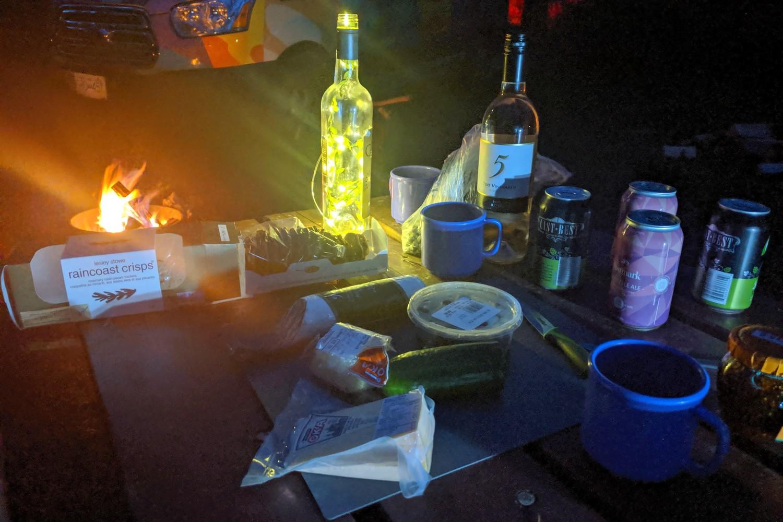Apéro de nuti au camping près de Jasper