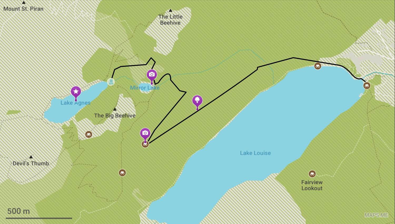 Itinéraire du Lake Louise au Lake Agnes