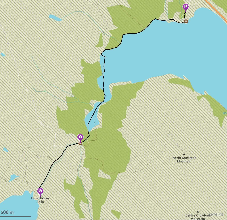 Itinéraire de randonnée pour les chutes de Bow Glacier